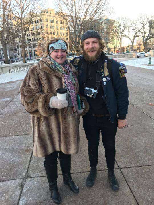 Caleb with Diane, the woman he ran into at the rink.