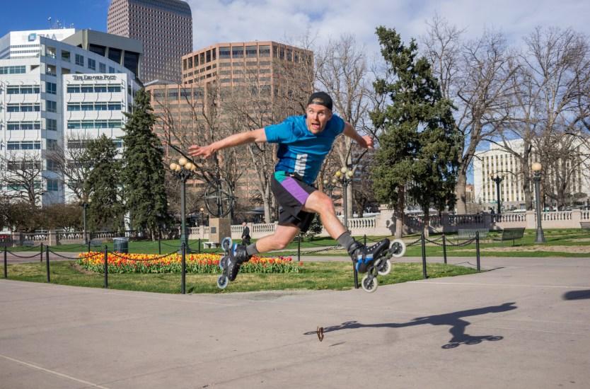 Mike Lempko jumping on his skates