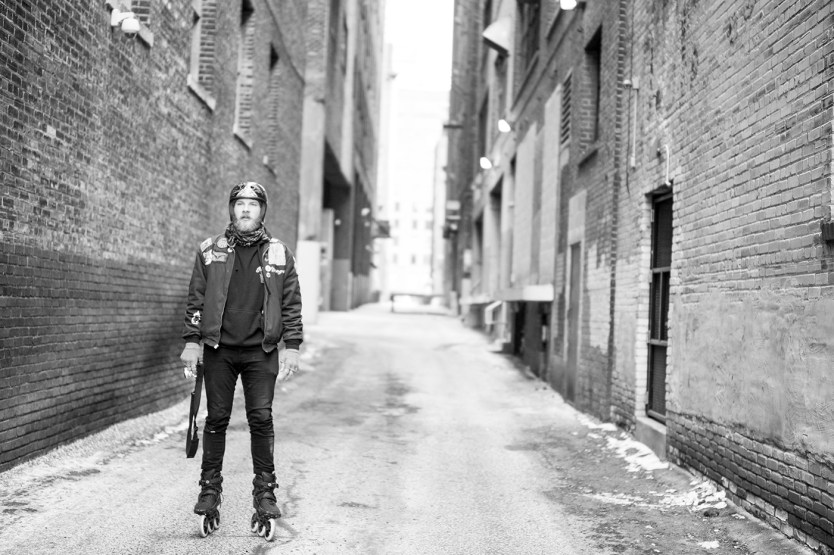 Caleb Smith in downtown Minneapolis. Photo by Mike Lufhlom.