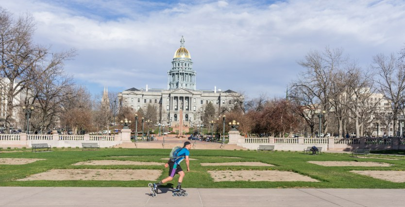 Mike Lempko skating infront of the Colorado State Capital
