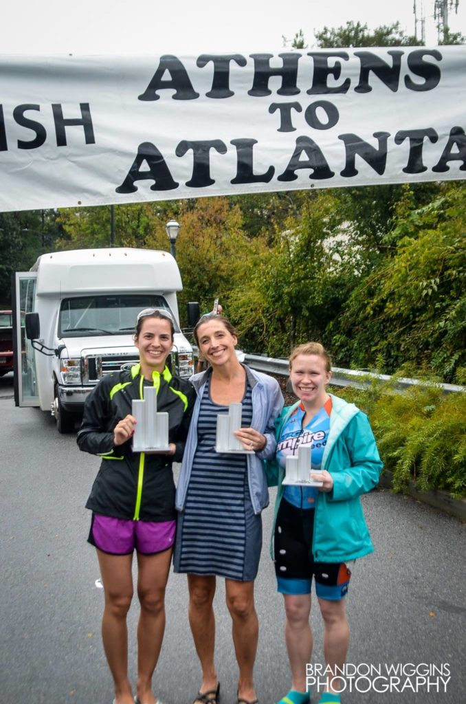 First, second, and third place women's finishers.