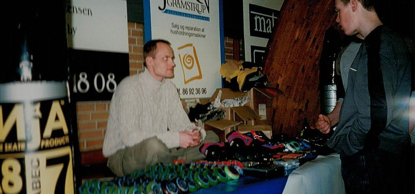 Jakob biegel with the entire Skatepro product range in 2000.