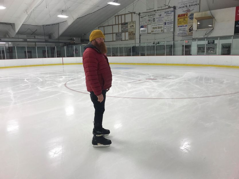 Jan Welch trying out the Rollance Hockey Frames in Vermont.