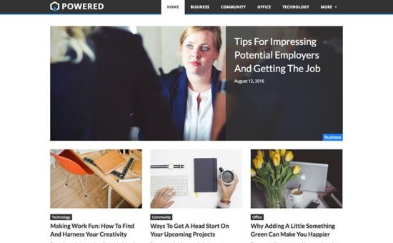 powered free wordpress blogging theme