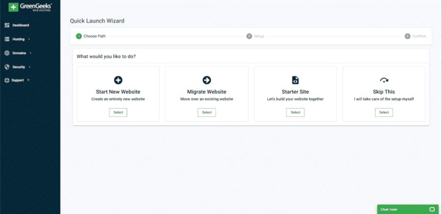 Start a Blog using greengeek panel
