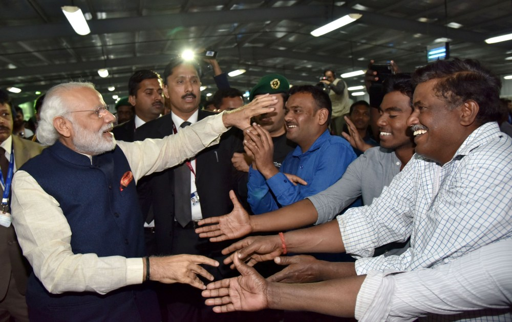 The Prime Minister, Shri Narendra Modi interacting with the workers at the L&T residential complex, in Riyadh Saudi Arabia on April 02, 2016.
