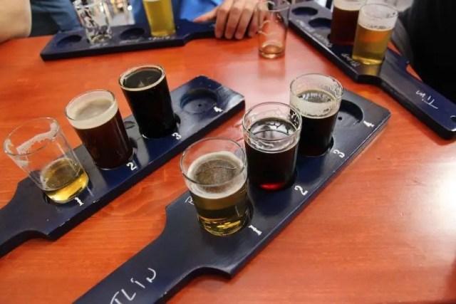 multiple beer flights