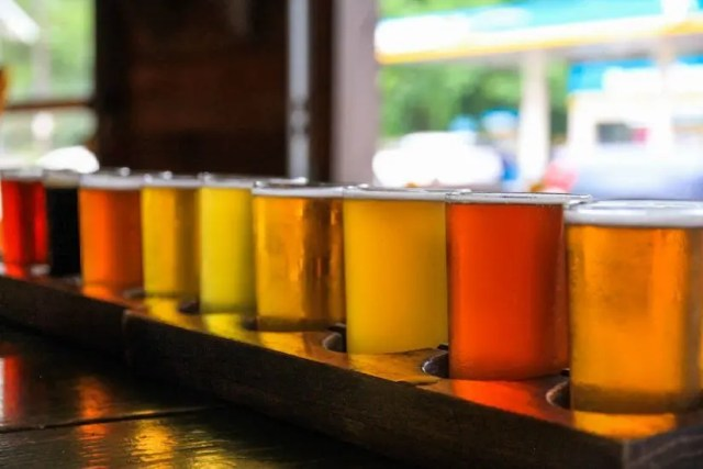 beer flight photography