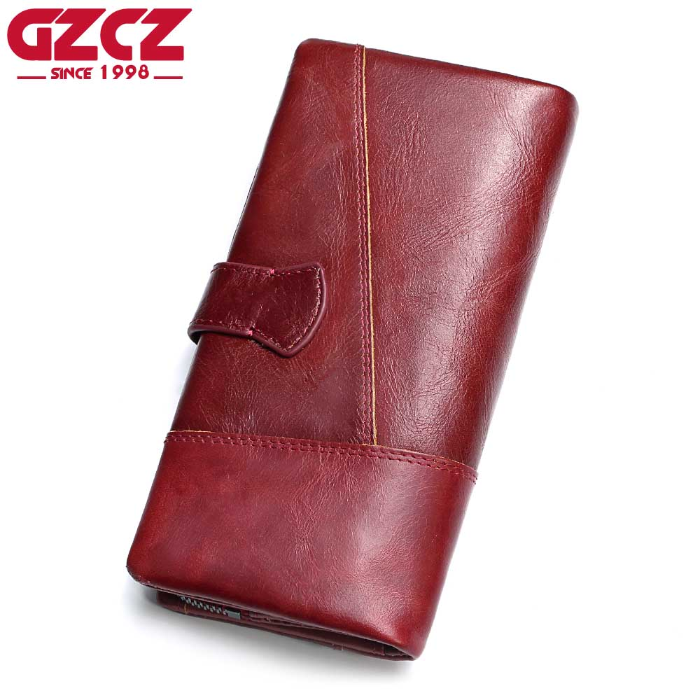 Gzcz Genuine Leather Women Wallet Lady Long Wallet Female