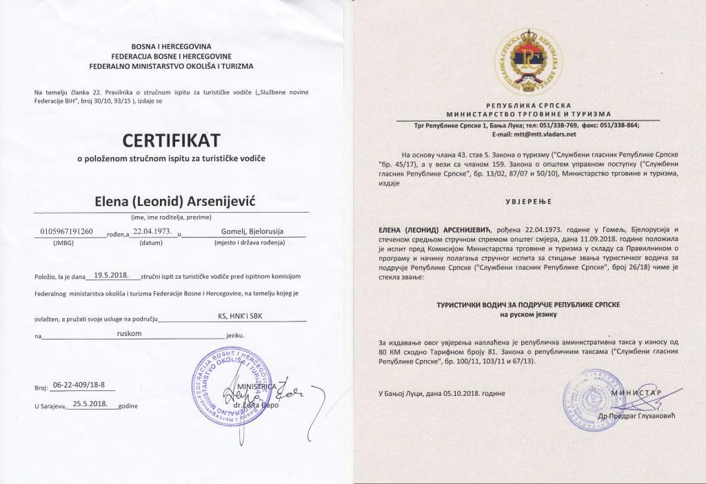Сертификаты экскурсовода Республики Сербской и трёх кантонов ФБиГ