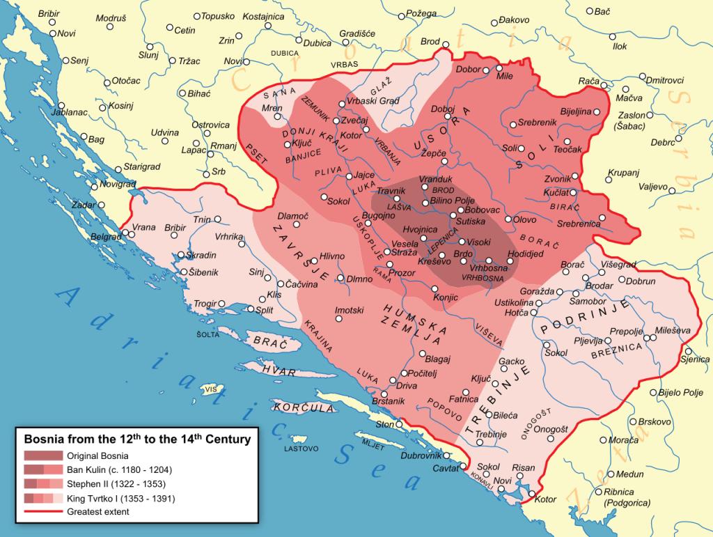 Границы Боснийского королевства в 14-м веке. Автор: Optimus Pryme, CC-BY-SA-3.0. Фото: Елена Арсениевич, CC BY-SA 3.0