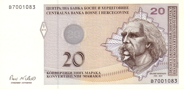 На купюре 20 КМ изображён Филип Вишнич. Kingsubash11, CC BY-SA 4.0