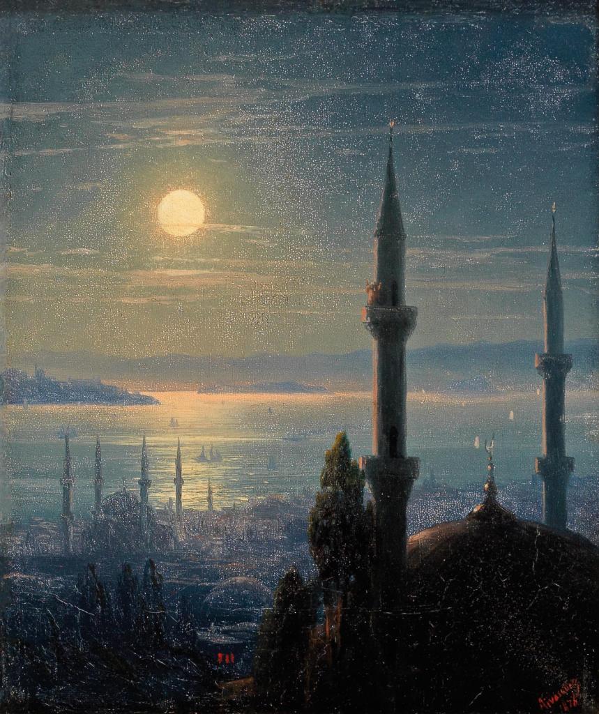 Луна и минареты. Иван Айвазовский, Public Domain