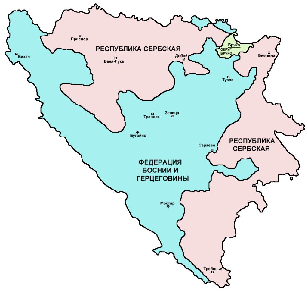 Карта энтитетов Боснии и Герцеговины. PANONIAN, Public Domain