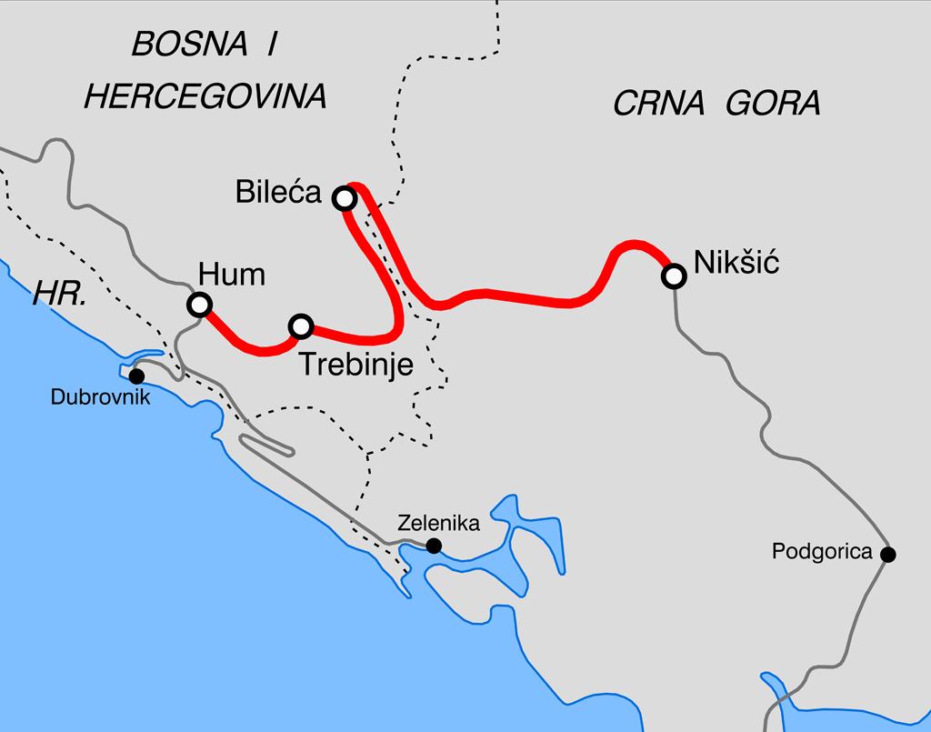 Железная дорога Хум-Никшич через Требине. Автор: Arbalete, CC-BY-SA-3.0