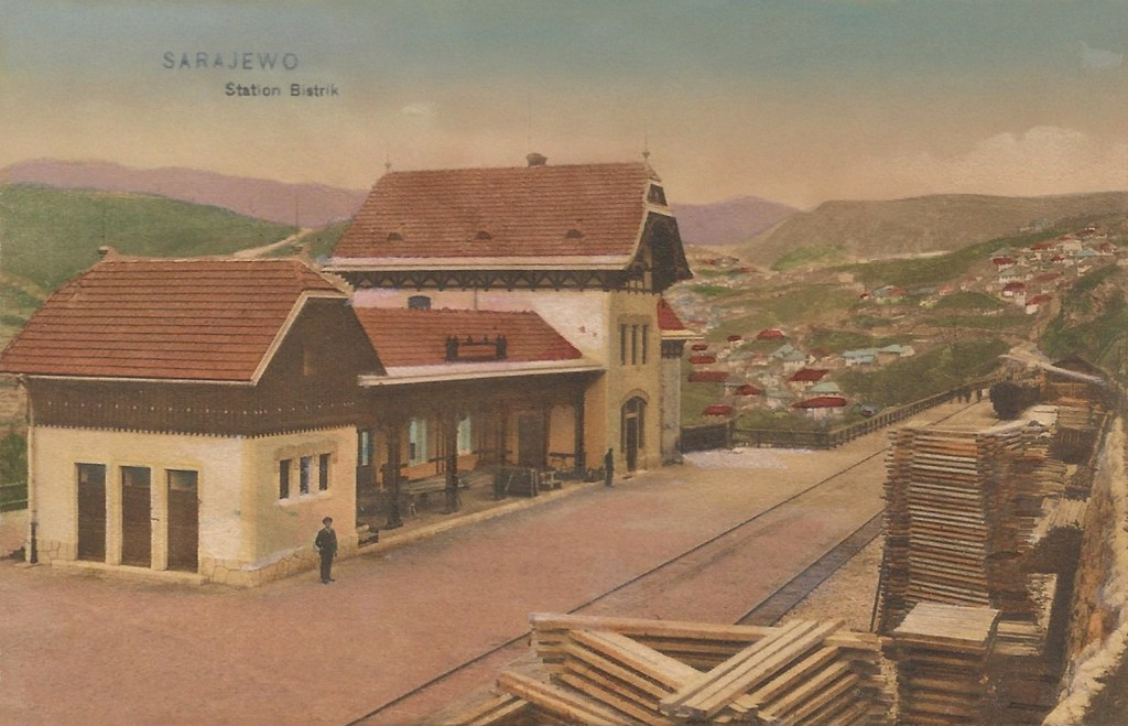 Станция Бистрик. Старая открытка. Albert Thier, public domain