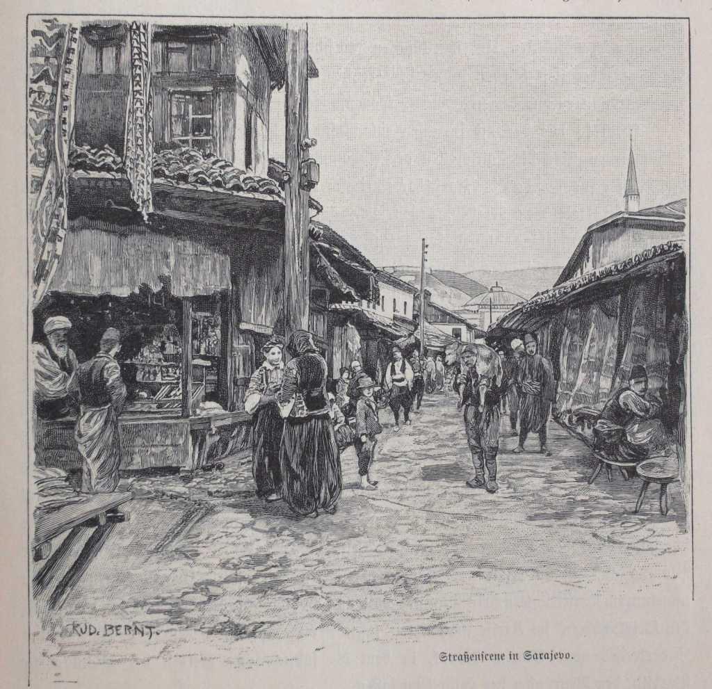 Башчаршия в Сараево. Rudolf Bernt (picture), Lysippos (photo), public domain