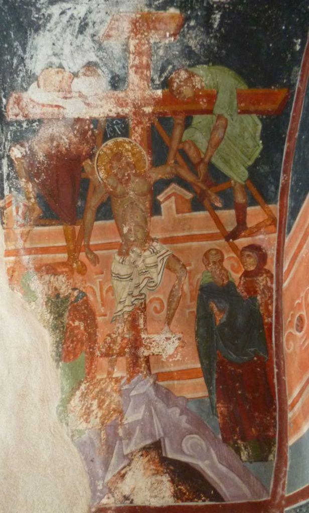 Поднятие на крест, фреска кисти Георгия Митрофановича. Фото: Елена Арсениевич, CC BY-SA 3.0