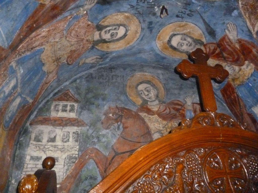 Св. Дмитрий Солунский, фреска 19-го века. Фото: Елена Арсениевич, CC BY-SA 3.0