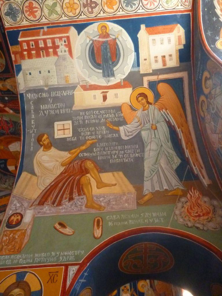 Фреска с чудом, случившимся в монастыре. Фото: Елена Арсениевич, CC BY-SA 3.0