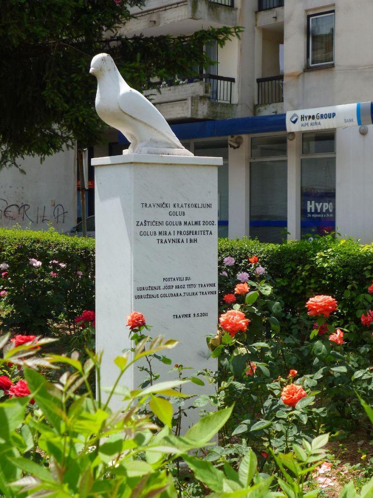 Памятник травничскому короткоклювому голубю. Фото: Елена Арсениевич, CC BY-SA 3.0