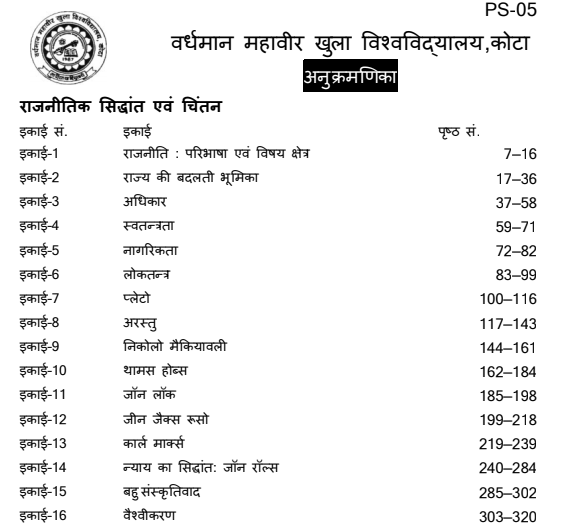 BA First Year Political Science Book in Hindi