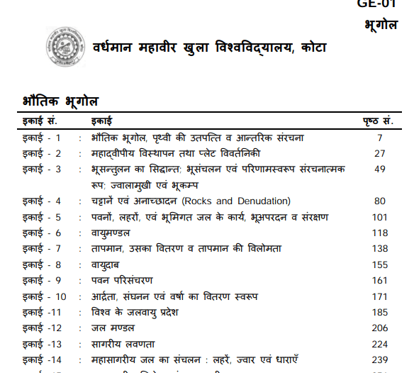 BA First Year Geography Book in Hindi PDF by VMOU