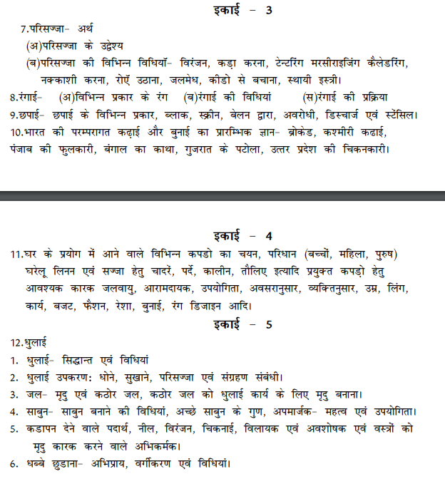 BA 1st Year Home Science Syllabus in Hindi PDF