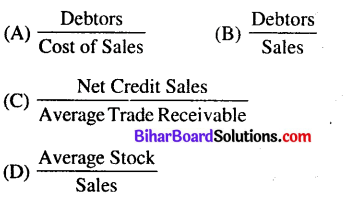 Bihar Board 12th Accountancy Objective Answers Chapter 10 Accounting Ratios - 5