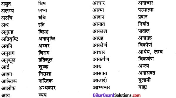 Bihar Board Class 12th Hindi व्याकरण विलोम या विपरीतार्थक शब्द 2