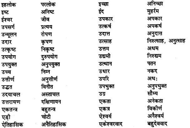 Bihar Board Class 12th Hindi व्याकरण विलोम या विपरीतार्थक शब्द 3