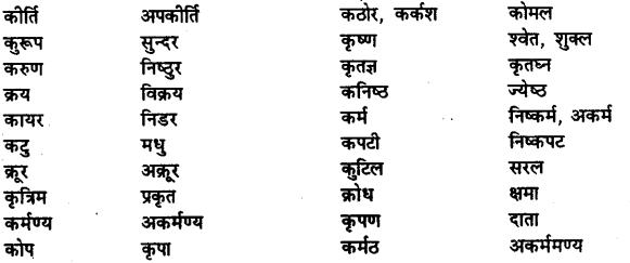 Bihar Board Class 12th Hindi व्याकरण विलोम या विपरीतार्थक शब्द 4