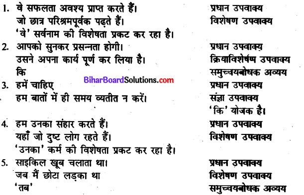 Bihar Board Class 10 Hindi व्याकरण वाक्य-भेद - 3