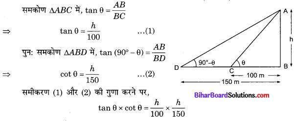 Bihar Board Class 10 Maths Solutions Chapter 9 त्रिकोणमिति के कुछ अनुप्रयोग Additional Questions SAQ 1