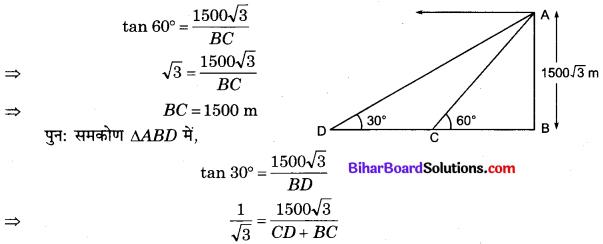 Bihar Board Class 10 Maths Solutions Chapter 9 त्रिकोणमिति के कुछ अनुप्रयोग Additional Questions SAQ 3