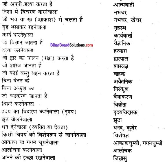 Bihar board class 9 hindi व्याकरण अनेक शब्दों के लिए एक शब्द - 8