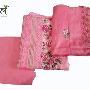 Embroidery  Unstitched High Quality Cotton Fabric Exclusive, Fashionable, Stylish and Comfortable, High Quality Embroidery Three Piece for Women