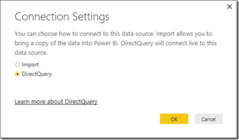 Power BI Desktop Connection Settings DirectQuery