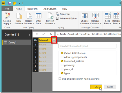Power BI Desktop Expand Complex Column