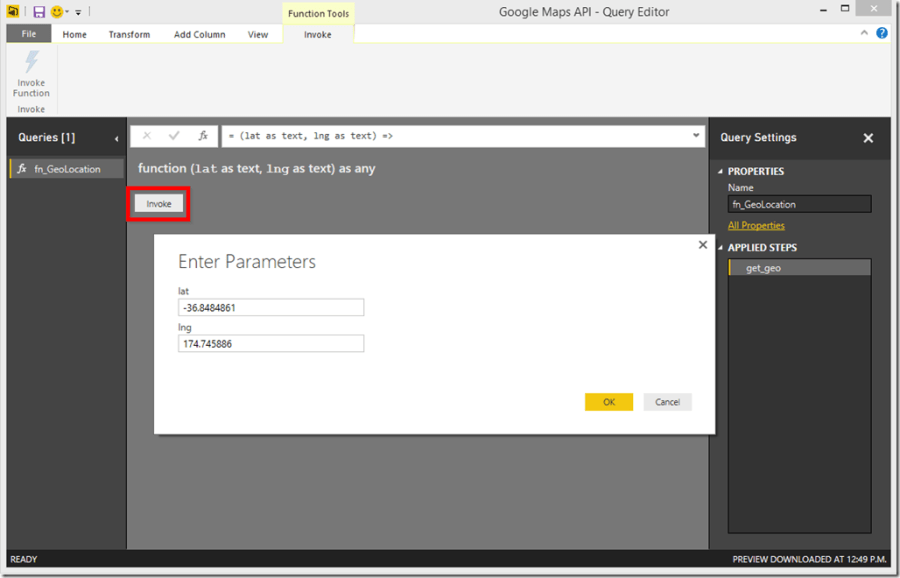 Power BI Desktop Invoke Function 2