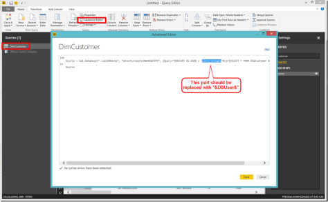 Power BI Desktop Parameterise Data Source
