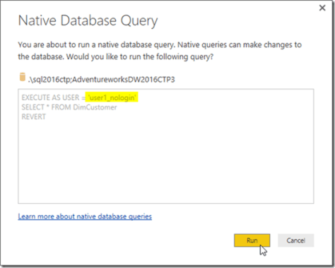 Power BI Desktop Native Database Query