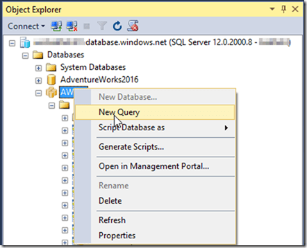 Query Azure SQL Data Warehouse in SSMS 2016