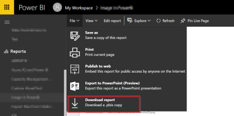 Download report from Power BI Service