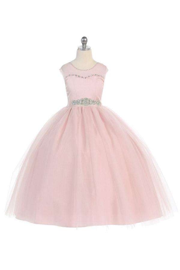 Flower girl dress in blush pink