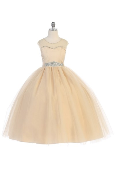 flower girl dress in champagne color