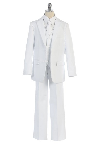 wholesale boys white suit, perfect for communions and special occasion events during the day time.