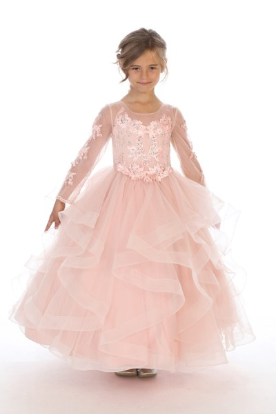 Bijan kids 80623 blush long sleeve ruffled dress wholesale kids special occasion clothing