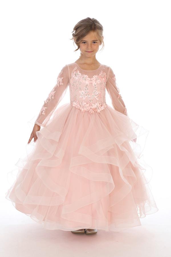 Bijan kids 80623 blush long sleeve ruffled dress wholesale kids special occasion clothing