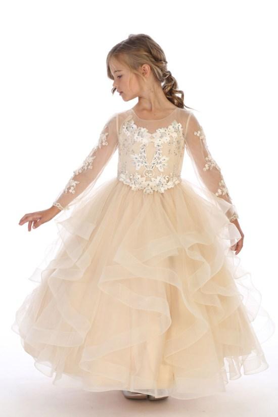 bijan kids wholesale 8062 champagne long sleeve dress